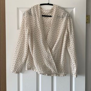 Club Monaco white polka dot blouse